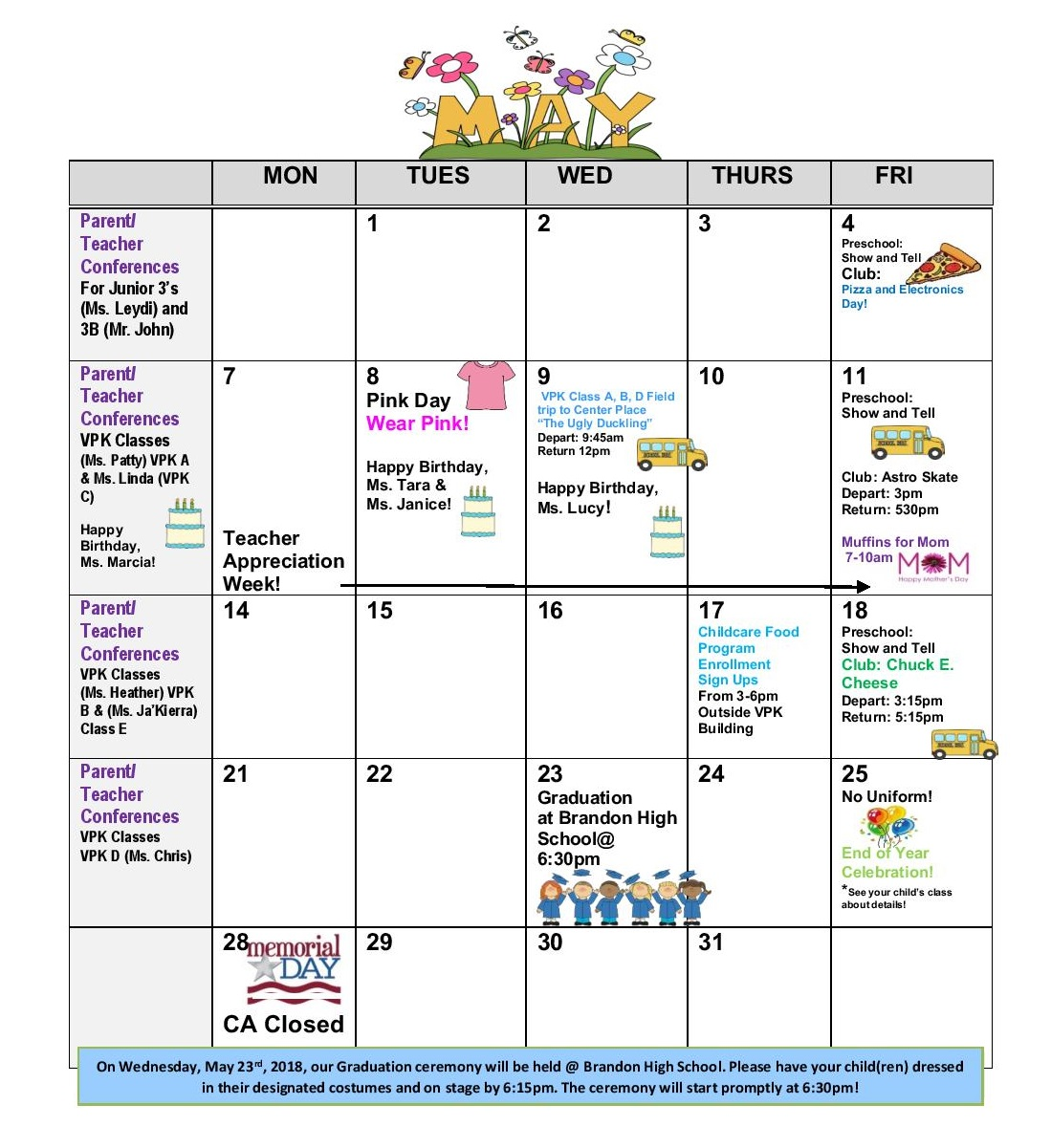 Children S Academy Calendar 05 2018 Children S Academy Brandon